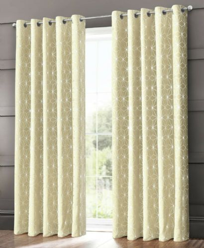 GEOMETRIC STAR METALLIC LIVINGROOM BEDROOM THERMAL BLACKOUT RING TOP EYELET CURTAINS CREAM